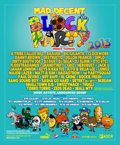 Mad Decent Block Party, Ottawa, A Tribe Called Red, Lineup, 2013, Diplo