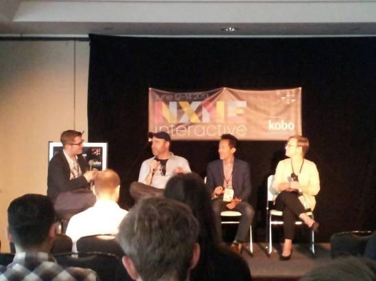 Scott Honsberger (left), Benji Rogers, Derrick Fung, Katherine Roose, music industry, canada, NXNE, interactive, panel