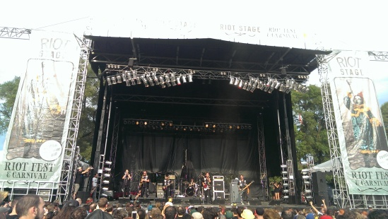 Rocket From The Crypt playing music and telling jokes at Riot Fest 2013.