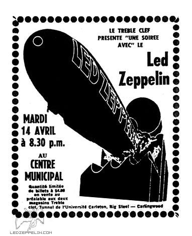 Led Zeppelin, poster, Ottawa, Civic Centre, Canada