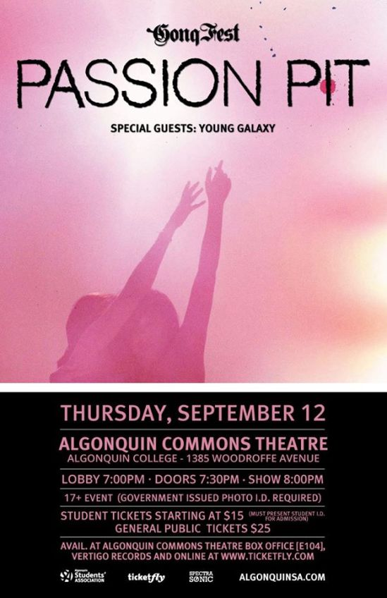 algonquin college, passion pit, young galaxy