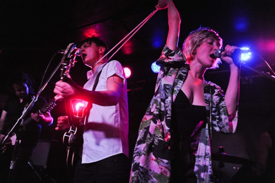 """""""You look good with my pearl necklace around your neck."""" Yup just another great set by July Talk. Photo: Stephen McGill"""