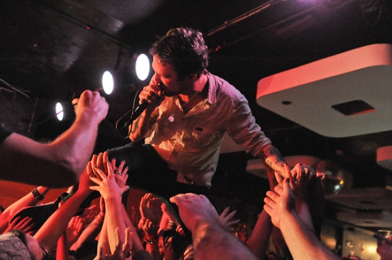 Frank Turner proving nothing can slow him down, as he gets in the crowd at Ritual Nightclub in Ottawa.  Photo: Stephen McGill.
