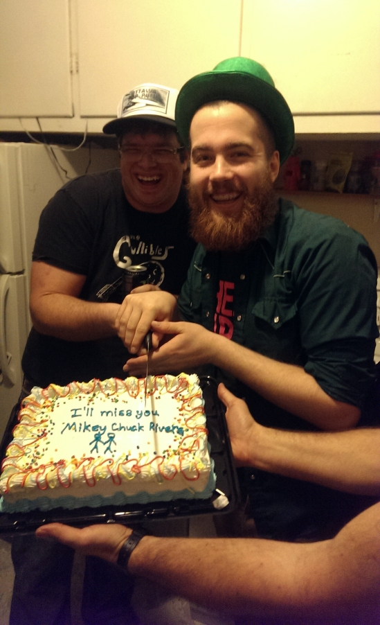 Mickey Chuck Rivers and Frank aka Ottawa Pop Punk, cutting the cake Frank made.